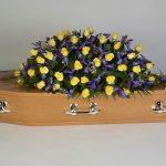 Yellow Rose, Blue Iris Oak Floral Tribute