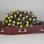 Yellow Rose, Blue Iris Rosewood Floral Tribute