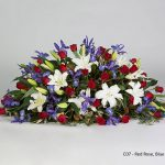 Red Rose, Blue Iris, White Lilies Floral Tribute