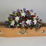 Red Rose, Blue Iris, Lilly Oak Floral Tribute